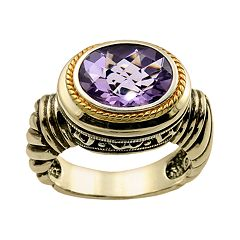 14k Gold Over Silver Amethyst Frame Ring by Amethyst Rings