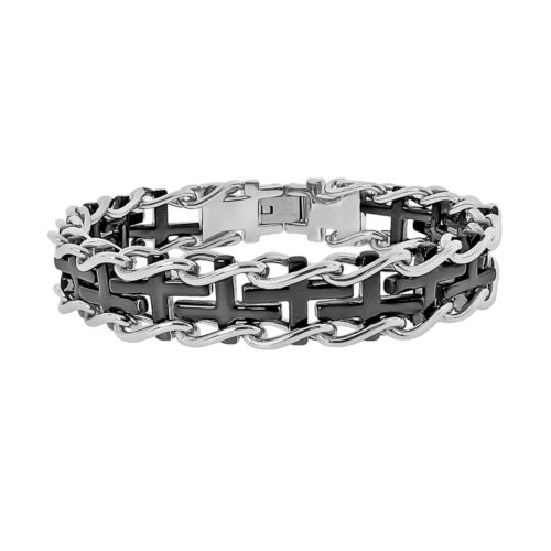 Stainless Steel Two Tone Sideways Cross Railroad Bracelet - Men
