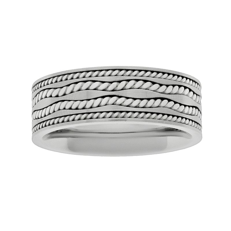 Sterling Silver and Stainless Steel Twist Band - Men
