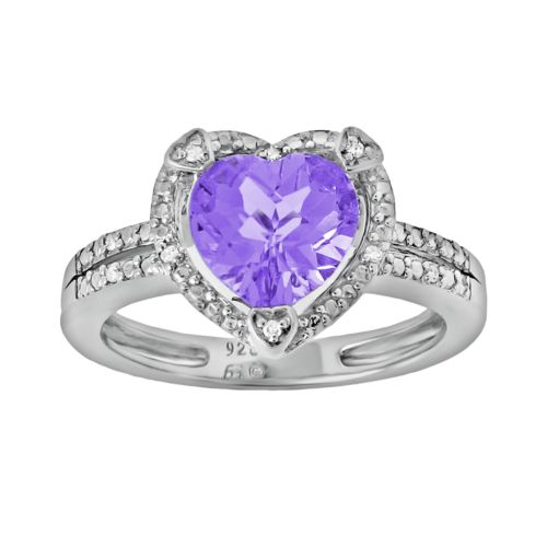 Sterling Silver Amethyst and Diamond Accent Heart Frame Ring
