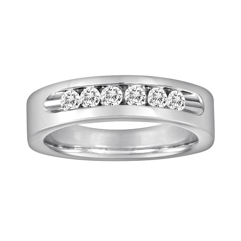 Sansone Collection 14k White Gold and Argentium Sterling Silver 1/2-ct. T.W. Certified Diamond Wedding Band - Men