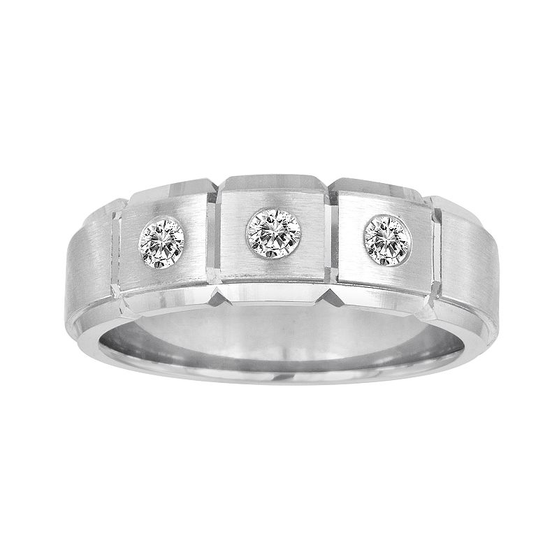 Sansone Collection 14k White Gold and Argentium Sterling Silver 1/4-ct. T.W. Certified Diamond Wedding Band - Men