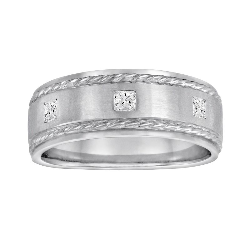Sansone Collection 14k White Gold and Argentium Sterling Silver 1/5-ct. T.W. Certified Diamond Wedding Band - Men