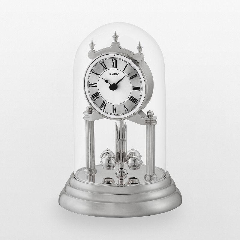 Seiko Silver Tone Anniversary Mantel Clock - QHN006SLH