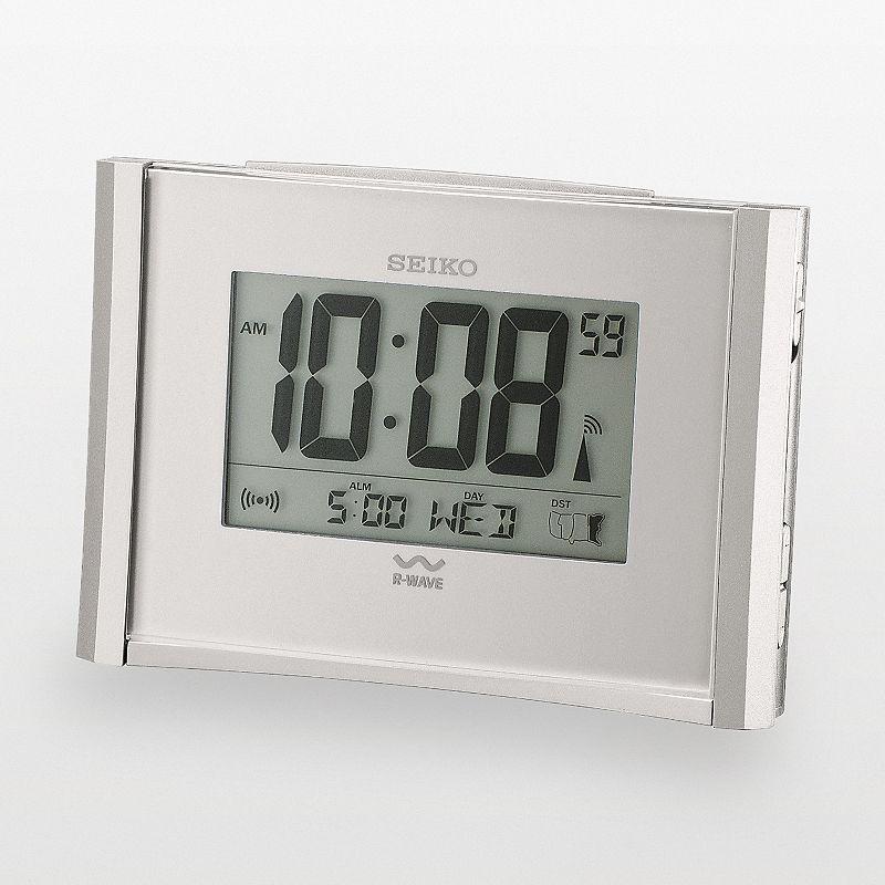 Seiko Get Up and Glow R-Wave Silver Tone Atomic Digital Alarm Clock - QHR015SLH