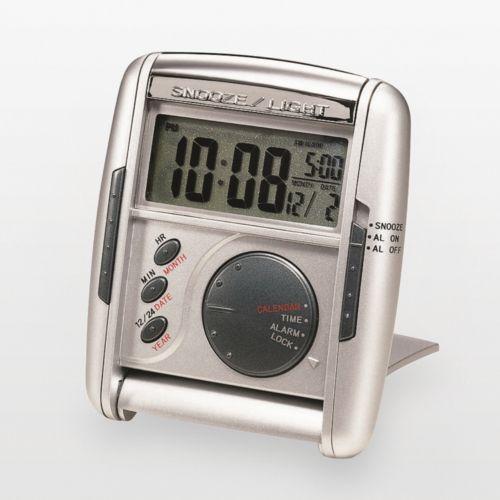 Seiko Get Up and Glow Silver Tone Travel Alarm Clock - QHL004SLH