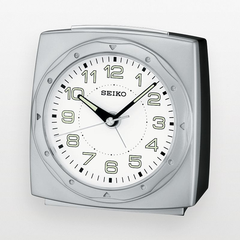 Seiko Silver Tone Alarm Clock - QHE039SLH