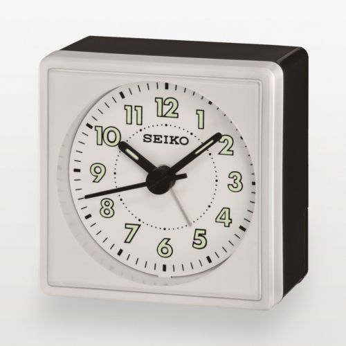 Seiko Black and Silver Tone Alarm Clock - QHE083WLH