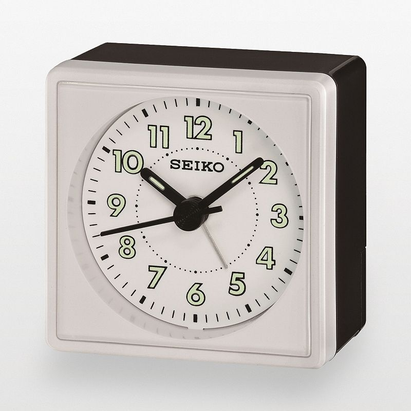 Seiko Black and Silver Tone Alarm Clock - QHE083WLH