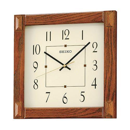 Seiko Wood Square Wall Clock Qxa469blh