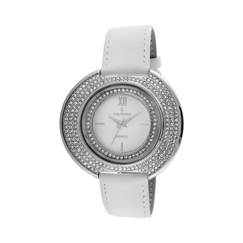 Peugeot Women's Crystal Leather Watch - J6371SWT