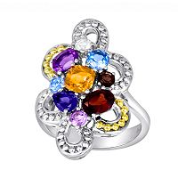 14k Gold Over Silver & Sterling Silver Openwork Gemstone Ring