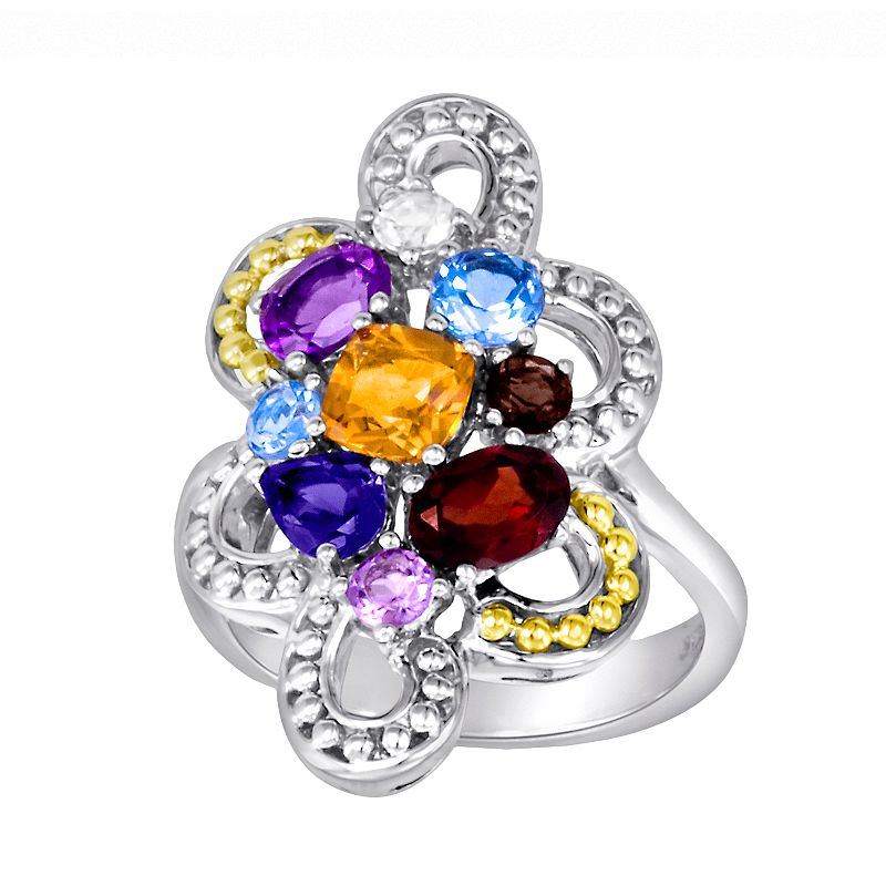 14k Gold Over Silver and Sterling Silver Openwork Gemstone Ring
