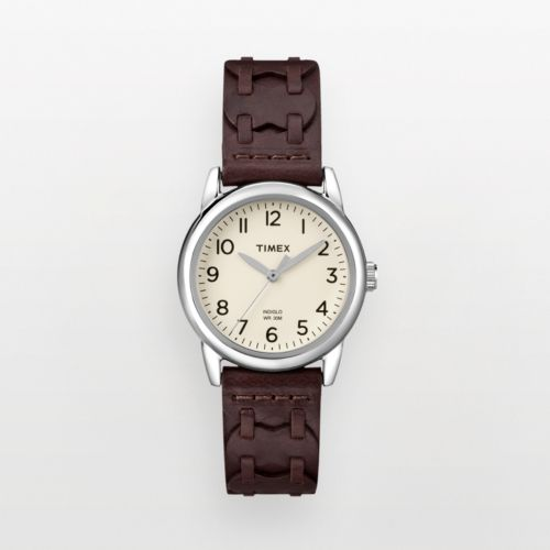 Timex Silver Tone Woven Leather Watch - T2N902KY - Women