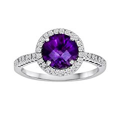 10k White Gold 1/5-ct. T.W. Diamond & Amethyst Frame Ring by Amethyst Rings