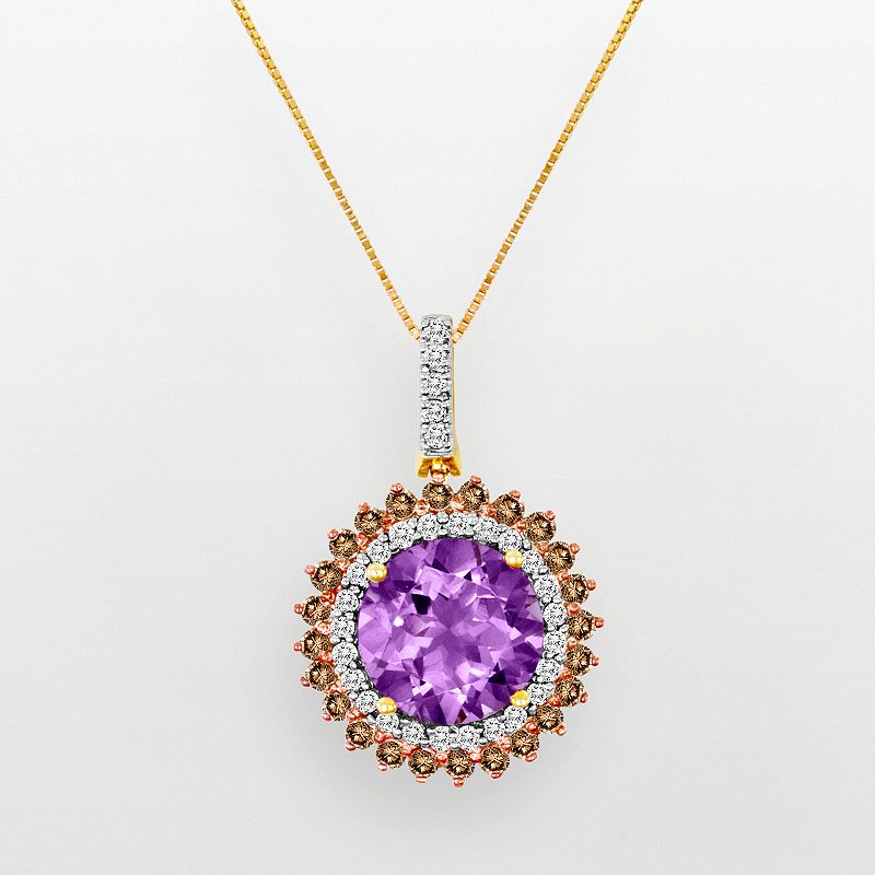 10k Gold 3/4-ct. T.W. White and Champagne Diamond and Rose de France Pendant