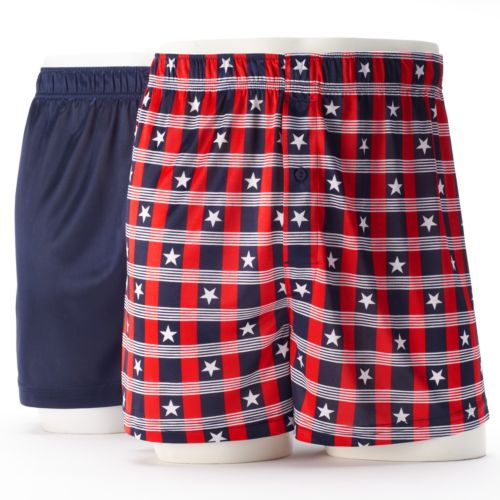 Men's Croft & Barrow® 2-pk. Grid Microfiber Boxers