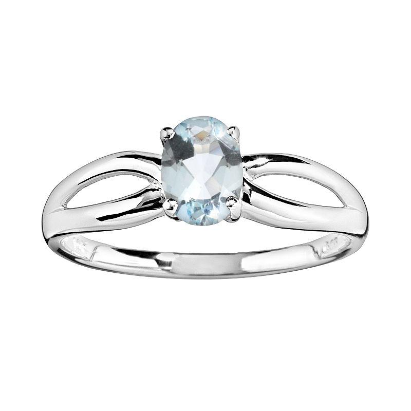 10k White Gold Aquamarine Ring