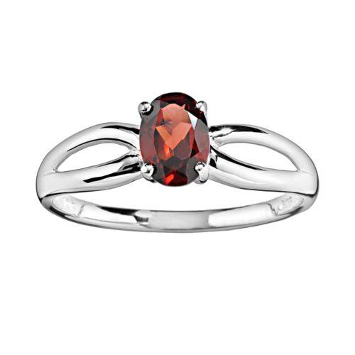10k White Gold Garnet Ring