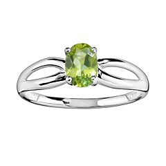 10k White Gold Peridot Ring by