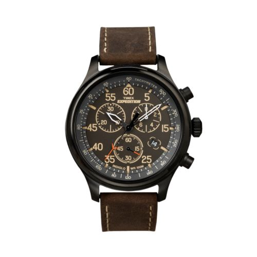 Timex Expedition Field Black Chronograph Leather Watch - T49905KZ - Men