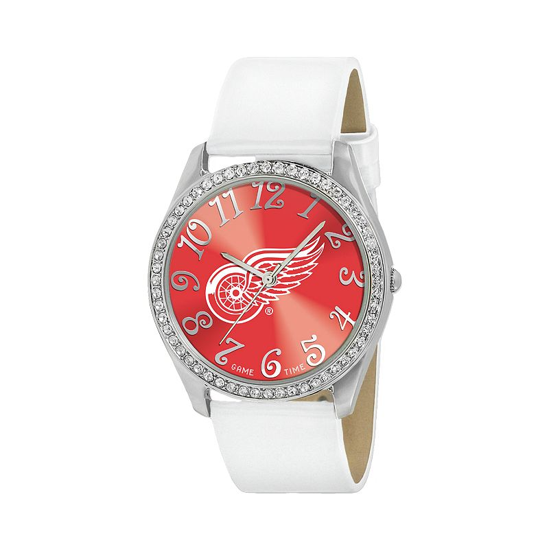 Game Time Glitz Detroit Red Wings Silver Tone Simulated Crystal Leather Watch - NHL-GLI-DET - Women