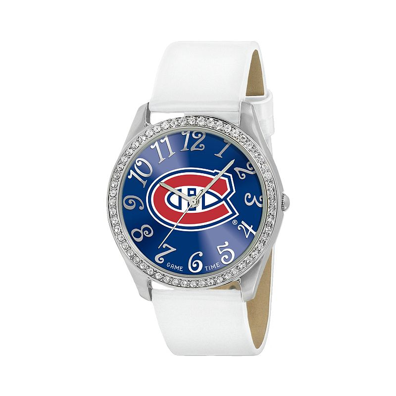 Game Time Glitz Montreal Canadiens Silver Tone Simulated Crystal Leather Watch - NHL-GLI-MON - Women