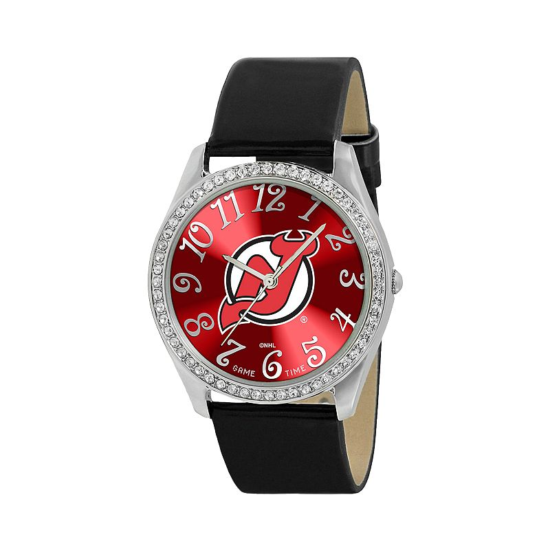 Game Time Glitz New Jersey Devils Silver Tone Simulated Crystal Leather Watch - NHL-GLI-NJ - Women