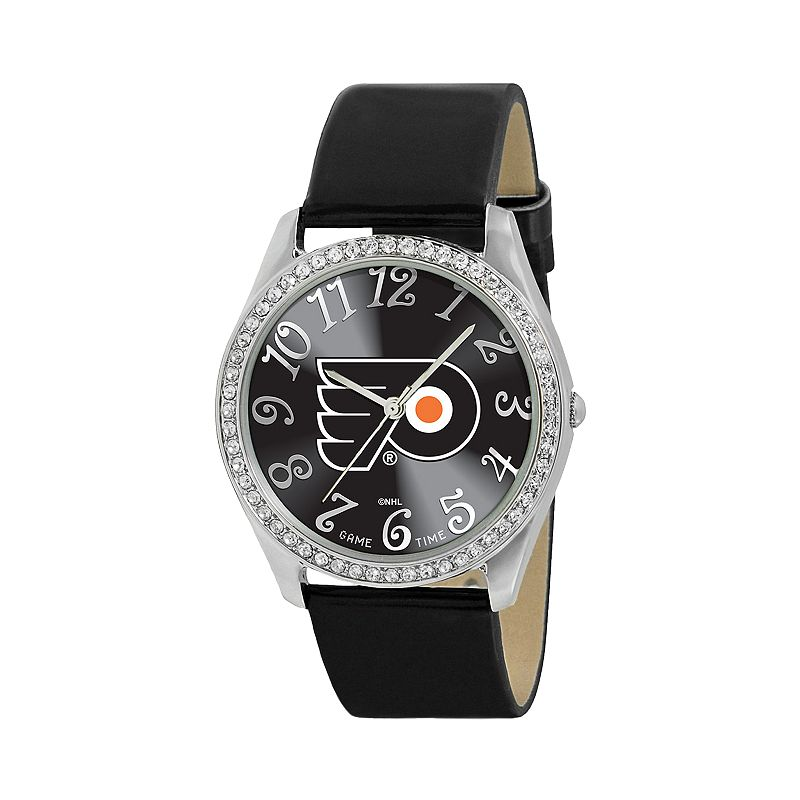Game Time Glitz Philadelphia Flyers Silver Tone Simulated Crystal Leather Watch - NHL-GLI-PHI - Women