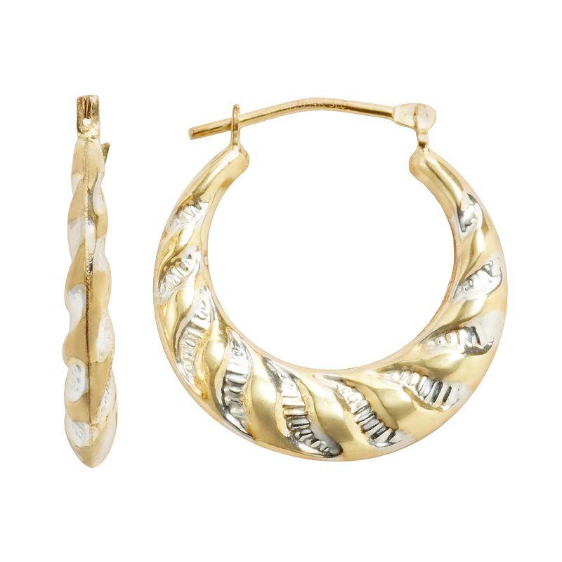 14k Gold-Bonded Sterling Silver Hoop Earrings