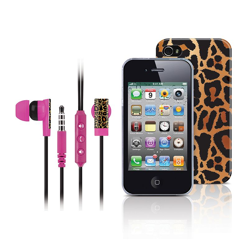 Merkury Innovations Gold Leopard iPhone 4 Headset and Cell Phone Case