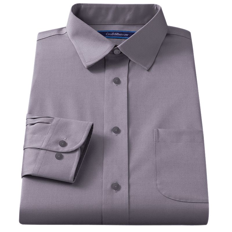 Men's Croft & Barrow® Classic-Fit Solid Broadcloth Spread-Collar Dress Shirt