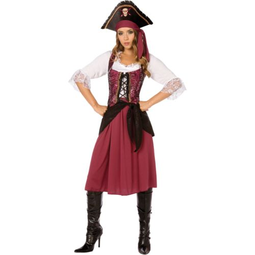 Burgundy Pirate Wench Costume - Adult
