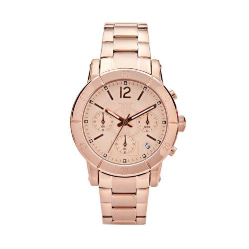 Jennifer Lopez Rose Gold Tone Stainless Steel Chronograph Watch - Women