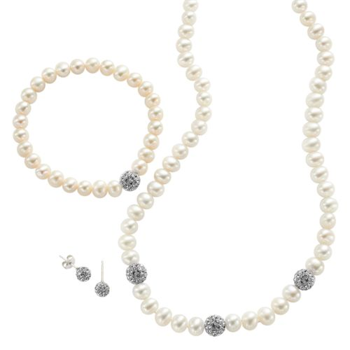 PearLustre by Imperial Sterling Silver Freshwater Cultured Pearl and Simulated Crystal Necklace, Stretch Bracelet and Earring Set