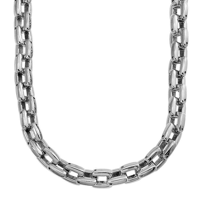 Stainless steel square link chain necklace 24 in men for Kohls jewelry mens rings
