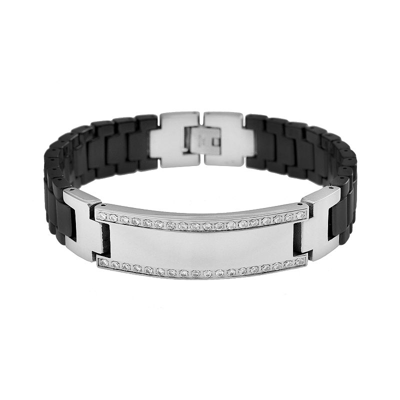 Stainless steel and black ceramic 1 4 ct t w diamond for Kohls jewelry mens rings