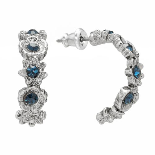 1928 Silver Tone Simulated Crystal Flower Semi-Hoop Earrings
