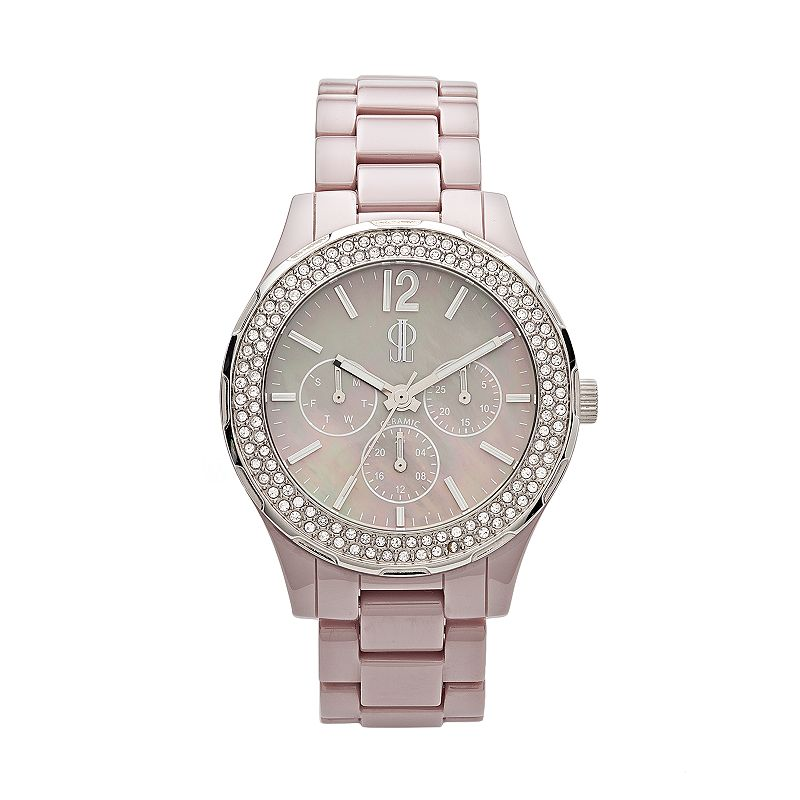 Jennifer Lopez Women's Crystal Ceramic Chronograph Watch