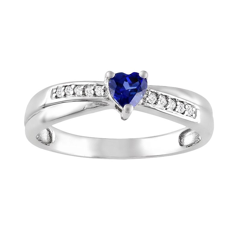 Sterling Silver Lab-Created Sapphire and Diamond Accent Crisscross Heart Ring