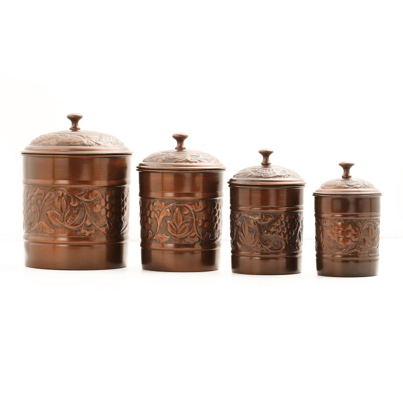 old dutch heritage 4 pc kitchen canister set brown