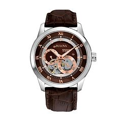 Bulova Stainless Steel Automatic Skeleton Leather Watch 96A120 Men