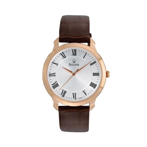 Bulova Rose Gold Tone Stainless Steel Leather Watch - 97A107 - Men
