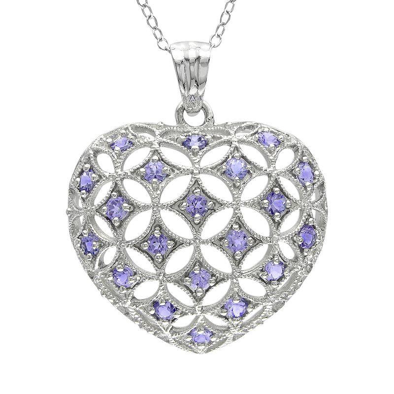 Sterling Silver Tanzanite Openwork Heart Pendant