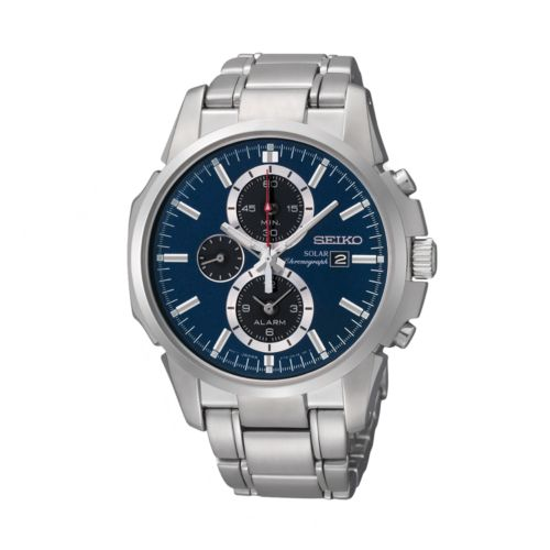 Seiko Solar Silver Tone Chronograph Watch - SSC085 - Men