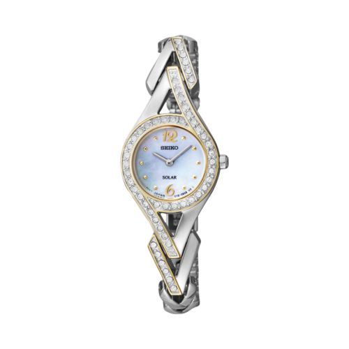 Seiko Two Tone Crystal and Mother-of-Pearl Solar Watch - Made with Swarovski Elements - SUP174 - Women