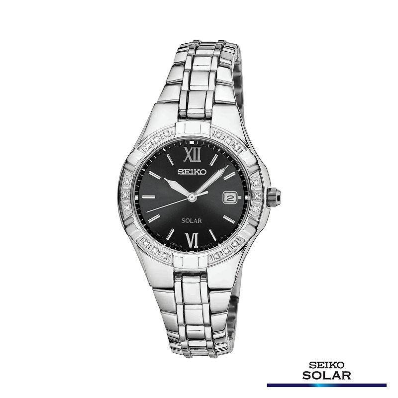 Seiko Solar Silver Tone Diamond Accent Watch - SUT067 - Women