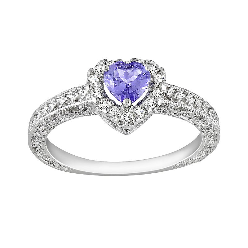 Sterling Silver 1/7-ct. T.W. Diamond and Tanzanite Heart Frame Ring
