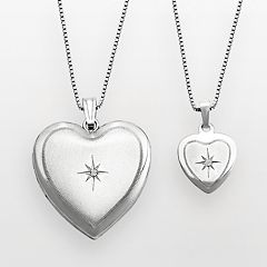 Sterling Silver Diamond Accent Heart Locket & Pendant Set by