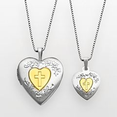 14k Gold Over Silver & Sterling Silver Cross Heart Locket & Pendant Set by